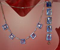 ART DECO Set 1930s ENAMEL CHAIN Necklace Bracelet Open Back BLUE CZECH CRYSTALS!