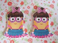2 x Large Cute Minion Girl Planar Resin Hair Bow Crafts Embellishments