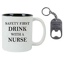 Drink with a Nurse RN 11 oz Ceramic Coffee Mug, Stainless Steel Bottle Opener