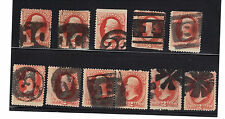 US Used Stamp 178 / 183 Fancy Cancel Numerals & Letters Nice Lot of 11