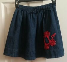 "VGUC Girls ""OSHKOSH B'GOSH"" Dark Blue Denim Skirt With Pink Ribbon Flowers 10"