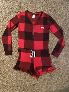 Victoria's Secret PINK Red Buffalo Check Sleep Romper Long Sleeve XS worn Once !