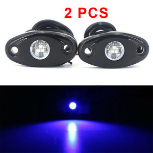 2PCS Blue 9W LED Rock Light Pods Trail Under Offroad Truck Driving Rig Lamp