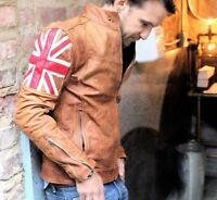 Mens Biker Vintage Motorcycle Tan Brown Cafe Racer UK Flag Real Leather Jacket