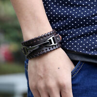 Men Wide Leather Band Bracelet Watch Buckle Metal Wristband Bangle Black Brown