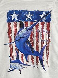 Guy Harvey AFTCO Vintage Sailfish USA Mens T-shirt  2XL Long Sleeve