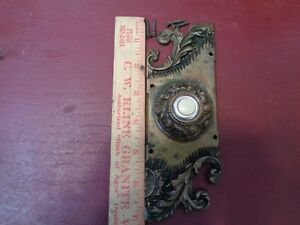 AUTHENTIC ANTIQUE READING HARDWARE CO HEAVY CAST BRONZE DOORBELL BUTTON #1A1106