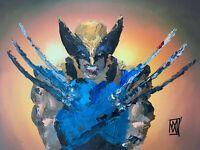 "ORIGINAL Palette Knife Wolverine X Arms Comic Marvel Fan Art Painting 12x16"""
