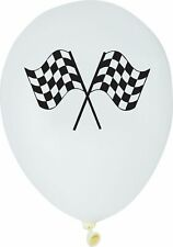 "6 x Latex Balloons 12""  Black & White Check Flag Adults Party Decoration Racing"