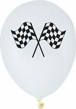 "6 BLACK & WHITE CHECK FLAG RACING LATEX BALLOONS 12"" HELIUM BIRTHDAY ADULT BOYS"