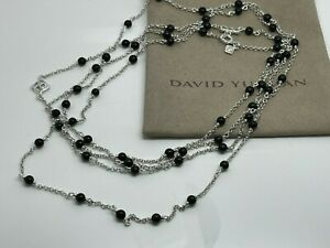 """David Yurman Silver Collectibles DY Station Black Onyx Bead Chain 60"""" AUCTION"""