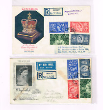 Oman Muscat 1953 QEII Coronation FDC+registered to US +2 diff cachets +neat