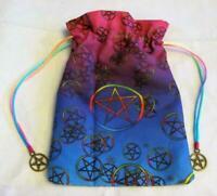Rainbow Pentacle Pentagram Wicca Pagan Tarot Card Drawstring Mojo Bag Pouch