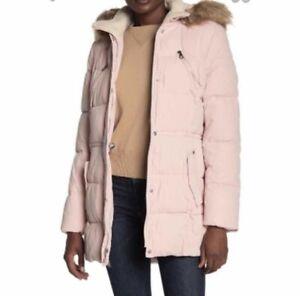 NWT Nautica Sz S Dusty Pink Parka Anorak Faux Fur Hood Microfiber Womens $245