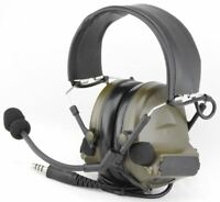 AIRSOFT TOMTAC COMTAC II 2 HEADSET MIC BOOM RADIO PELTOR DESIGN OD GREEN