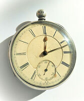 Large Victorian silver fusee pocket watch c1878