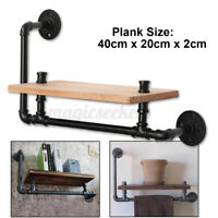 Industrial Retro Design Wall Pipe Rack Shelf Shelves Storage Hanging Hol