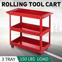 3-Tray Rolling  Storage Utility Tool Cart w/Wheels Durability Shelves Steel