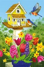 #19 EVERGREEN BIRDHOUSE FLOWERS BIRDS SPRING SUMMER HOUSE FLAG 29X43 BANNER