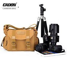Khaki Men's Vintage Canvas DSLR Camera Bag Shoulder Messenger Bag For Canon Niko