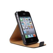 Fundas y carcasas lisos de piel color principal negro para teléfonos móviles y PDAs