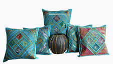 "SET OF 5 INDIAN HANDMADE ZARI WORK 16X16"" COTTON CUSHION COVER ETHNIC ART fs4"
