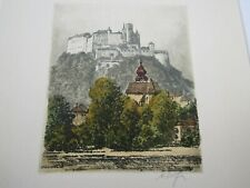 old 20th Century ETCHING engraving PRINT Germany pencil signed original matted