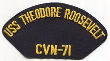 US Navy Cap Patch USS Theodore Roosevelt CVN - 71 Aircraft Carrier