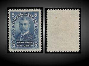 1899 NEWFOUNDLAND KING GEORGE V AS DUKE OF YORK 5C BLUE NO GUM SCT.65 SG.90