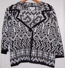 Vintage Chaus Women's Sweater Cardigan Jacket Black White Geometric M Cotton Bl