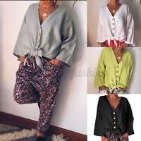 ZANZEA Women Casual Loose Solid V-Neck Long Sleeve Tops Button Down Shirt Blouse