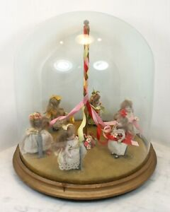 Antique German Maypole Six Miniature Bisque Dolls Dancing Glass Dome Mignonette?