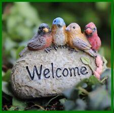 Fairy Garden Fun Accessory Welcome Cardinal Bird Rock Sign Figurine Miniature