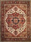Hand-knotted Rug (Carpet) 9X11'8, Serapi mint condition