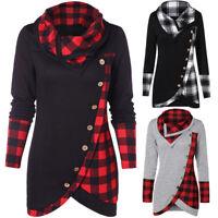 Women Lady Winter Long Sleeve Plaid Jumper Sweater Sweatshirt Dress Casual Tops