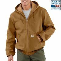 Carhartt Heavy Work Jacket Coat Duck Lined J131 Brown Men's 2XL Made In USA
