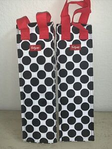 Pair (2) Thirty-One Perfect Bottle Thermal Black Spotty w/Red Handle NWOP