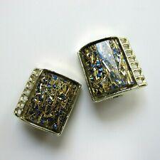 Vtg Lucite Confetti Clip on Earrings Blue Silver Tone Setting Unsigned Desingner