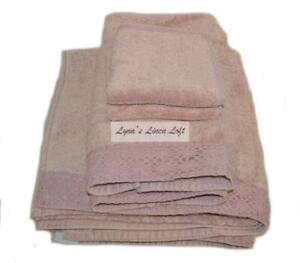 RACHEL ASHWELL COUTURE Towel Set  6P ANNABELLE ROSA PINK CROCHET SHABBY CHIC