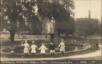 Middletown NY Firemen's Fire Fighters Fountain & Children Real Photo Postcard