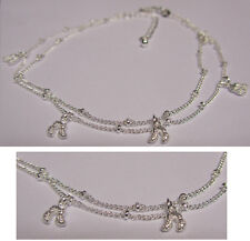 Peanut Nugget Anklet 925 Sterling Silver Plated KPAN13 27cm Total Ext.Chain
