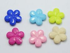 50 Mixed Bubblegum Color Acrylic Flower Charm Beads 20mm