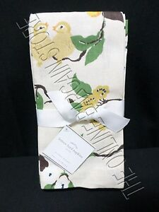 4 Pottery Barn Vintage Lemon Bird Flowers leaves Linen Napkins Kitchen