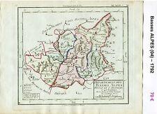 Dépt 04 - XVIII è Carte des Basses Alpes Superbe Gravure Cuivre Aquarellée 1792