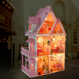 Large Wooden Kids Doll House Kit Girls Play Dollhouse Mansion Furniture DIY Gift