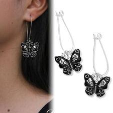 SKULL Butterfly BLACK Enamel Costume Retro Style Earrings