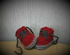 HANDMADE CROCHET BABY FIRS SHOES WOOL CASUAL BOOTS SLIPPERS UNISEX