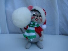 "Annalee Doll Christmas Gray Mouse with Snowball 7"" 1995 Original  HangTags 7740"