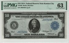 1914 $10 Federal Reserve Note Currency Kansas City Fr.940 PMG Choice UNC 63