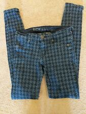 RICH & SKINNY Blue Houndstooth Jeggings Sz 24